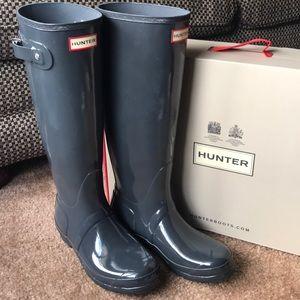 Hunter Original Tall Gloss Rain Boots - Dark Slate